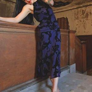 Vintage velvet purple floral burn out dress long